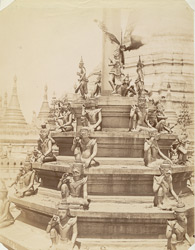 Images at the foot of a tagondain at Rangoon (Shwe dagon)